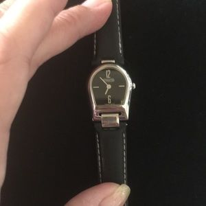 Coach Watch Silver and Black Leather Band